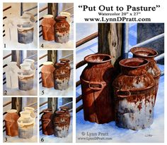 """TUTORIAL: Watercolor painting step by step progress by Lynn D. How to paint. """"Put Out to Pasture"""" Watercolor Pencils Techniques, Watercolour Tutorials, Pastel Watercolor, Watercolor Paintings, Guache, Step By Step Painting, Sketch Painting, Art For Art Sake, Painting Lessons"""