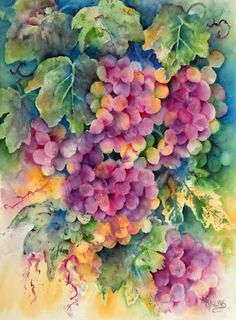 VINEYARD GRAPES Watercolor Martha Kisling