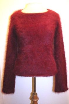 J Crew Top S Burgundy Wine Angora Blend Boat Neck Fuzzy Furry Casual Sweater #JCrew #Boatneck