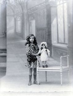 Doll and me,vintage photo c. 1900