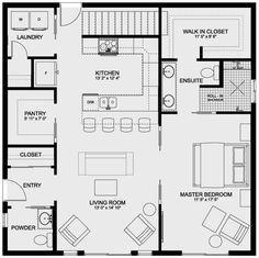 House Plans And More, Best House Plans, Small House Plans, House Floor Plans, 1 Bedroom House, Bedroom Apartment, Farmhouse Design, Cottage Farmhouse, Farmhouse Style