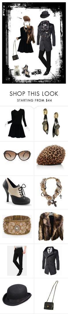 """Bonnie and Clyde"" by sharonbeach ❤ liked on Polyvore featuring Alaïa, Gatsby, Alexis Bittar, Chanel, Yestadt Millinery, Pinup Couture, Dolce&Gabbana, Chico's, ASOS and Scala"
