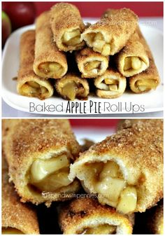 Baked Apple Pie Roll Ups!  Easy to make, even easier to eat... Apple pie filling…