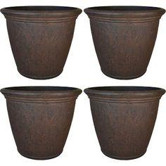 Sunnydaze Anjelica Flower Pot Planter, Outdoor/Indoor Unbreakable Double-Walled Polyresin with UV-Resistant Rust Finish, Set of Diameter, Brown Resin Planters, Outdoor Planters, Planter Pots, Basket Planters, Flower Planters, Indoor Outdoor, Container Size, Container Flowers, Large Flower Pots
