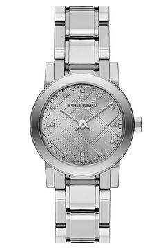 burberry new classics gray silver diamond 26mm bracelet watch
