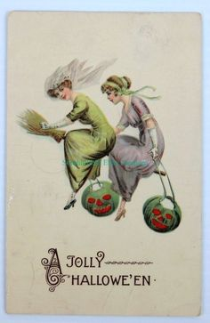 JOLLY HALLOWEEN LADY WITCHES ONE BROOM BOTH CARRYING GREEN JACK-O-LANTERNS 2693