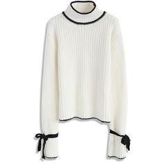 Chicwish The Way to Wonderland Sweater in White ($53) ❤ liked on Polyvore featuring tops, sweaters, white, bell sleeve sweater, bow tie sweater, white bow top, tie sweater and bow tie top