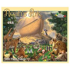 Noah's Ark 1000 Piece Puzzle: Noah has finished construction on his ark, but now you must construct the puzzle! Birds, insects and animals prepare for their journey, two by two, in peace and harmony.  $14.99  http://www.calendars.com/Christian/Noahs-Ark-1000-Piece-Puzzle/prod201100009876/?categoryId=cat00360=cat00360#