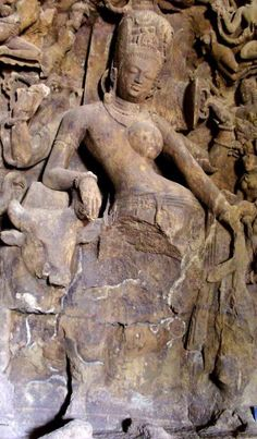Shiva is often represented as Ardhanarishvara, i.e. with a dual male and female nature. This sculpture is from the Elephanta Caves near Mumbai.