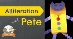 Alliteration with Pete the Cat - Groovy Cat Week: Fun activity for teaching alliteration to your preschool or kindergarten students with Pete the Cat using an easy, DIY paper bag puppet. Preschool Literacy, Preschool Themes, Early Literacy, Literacy Activities, In Kindergarten, Word Study Activities, Language Activities, Pete The Cats, Pre K Pages