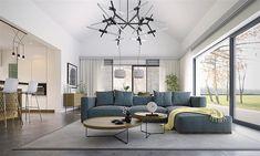 Projekt domu Alfi 158,86 m2 - koszt budowy - EXTRADOM Conference Room, Ceiling Lights, House, Furniture, Home Decor, House 2, Decoration Home, Home, Room Decor
