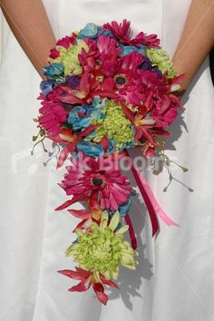 Beautiful Vibrant Cascading Bridal Bouquet with Magenta Gerberas
