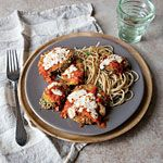 Eggplant and Zucchini Parmesan Recipe | MyRecipes.com.  Serve with Lemon-Parsley Pasta