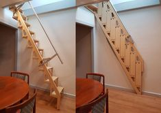 Revolutionary hideaway staircase folds flat against the wall The floorplans of average homes are only getting smaller, creating a need for ingenious space-saving Standard Staircase, Narrow Staircase, Loft Staircase, Staircase Design, Spiral Staircases, Space Saving Staircase, Small Space Staircase, Wall Ladders, Stair Ladder