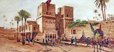 old art for arabs , source internet . A caravan leaving the Bab-el-Nasr gate, Cairo . By Robert Murdoch Wright- Arabian Theme, Mediterranean Architecture, Kairo, Beautiful Streets, Cairo Egypt, Old Art, Ancient Civilizations, Islamic Art, Middle East