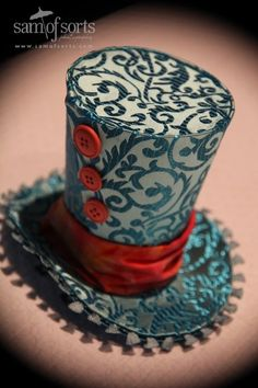 Items similar to Turquoise Swirl Brocade Mini Top Hat Trimmed with Orange and Pink Buttons on Etsy Mad Hatter Party, Mad Hatter Tea, Steampunk Top Hat, Steampunk Fashion, Steampunk Necklace, Steampunk Clothing, Moldes Halloween, Crazy Hats, Love Hat