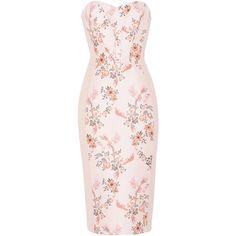 Stella McCartney Belli Dress ($2,055) ❤ liked on Polyvore featuring dresses, rose, embroidery dresses, deep v-neck dress, pink floral dresses, sleeveless floral dress and zipper dress