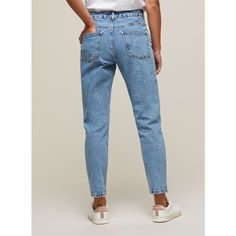 Miss Selfridge PETITE Hotfix MOM Jeans ($82) ❤ liked on Polyvore featuring jeans, blue, petite, miss selfridge and miss selfridge jeans