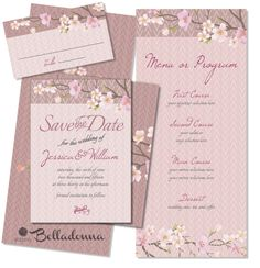 Romantic | Cherry Blossoms | #CHRRY-BLOSSM-3 | Suite 3: Brochure-style program format | save-the-date | place card | front/back | $40 set