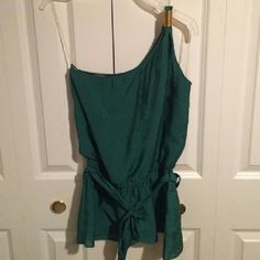 """""""Off to Neverland"""" Green One Shoulder Top Never grow up and have fun just like Peter Pan!  This top is so cute, never worn. Dark green iridescent fabric (cotton/poly). One shoulder wrapped in gold wire cuff. Elastic waist with tie. Bottom drops down with a ruffled layer. Great for Disneybound Peter Pan but would work for so many other bounds! Faisca Tops"""