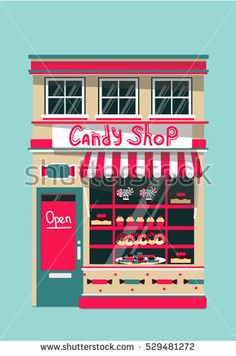 Vector modern sweet  shop detailed facade background in flat style, with big candy sticker