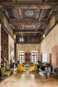 """The """"ballroom,"""" where French phrases — fitting for Sarkozy — are embossed in the ceiling.  Source: Douglas Elliman"""