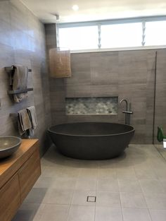 Coco stone bath in charcoal. Stone Bath, Charcoal, Bathtub, Bathroom, Standing Bath, Washroom, Bathtubs, Bath Tube, Full Bath
