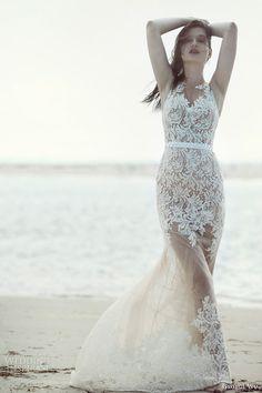 george wu bridal 2015 wulfilas message summerland sleeveless mermaid wedding dress nude tulle base lace