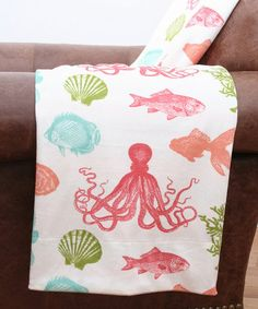 Loving this Sea Life & Stripes Microplush Throw on #zulily! #zulilyfinds