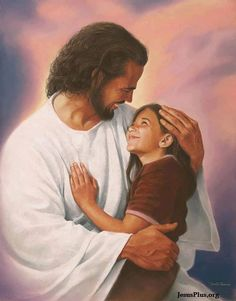 I love this picture.....little girl (me) so happy to be with Jesus, who tenderly holds her (me).  E