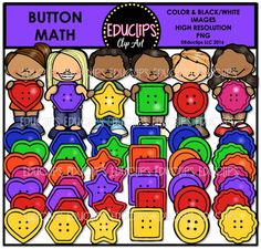 This is a collection of kids with buttons as well as a selection of colorful, button shapes. The shapes are heart, hexagon, star, square, circle and flower.The colors are yellow, red, purple, pink, orange, green and blue.60 images (48 in color and 12 in B&W)This set is also available (at a discount) as part of the MATH MANIPULATIVES CLIP ART MEGA BUNDLE This set contains all of the images shown.Images saved at 300dpi in PNG files.For personal or commercial use.CLICK HERE for TERMS OF USET...