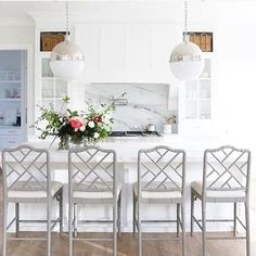 Chinese Chippendale Chairs: milky grey with cream seat