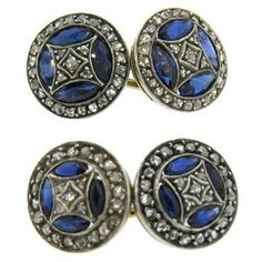 Antique 14k gold cufflinks, adorned with rose cut diamonds and blue sapphires  DESIGNER: Not Signed  MATERIAL: 14K…