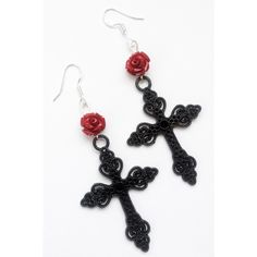 Red Rose Ornate Black Cross Gothic Earrings ($15) ❤ liked on Polyvore featuring jewelry, earrings, cross earrings, crucifix earrings, gothic earrings, cross jewelry and earring jewelry