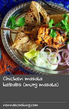 Chicken masala kebabs (murg masala) | Roasting and grinding your own spices will make all the difference to these Indian chicken masala kebabs. While in this recipe they are cooked in the oven, they would also work well on the barbecue. You will need to soak the skewers for 30 minutes before threading to prevent them from burning during cooking. Cooking Whole Chicken, Cooked Chicken Recipes, Cooking Pork, Cooking On The Grill, Recipe Chicken, Yum Yum Chicken, Skewer Recipes, Roast Recipes, Barbecue Recipes