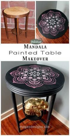 Terrific Hand painted furniture. Boho style. Mandala design. Bohemian furniture. eclectic pink and gray modern chic golden elephant diy blogger artisbeauty The post Hand painted furniture. Bo ..
