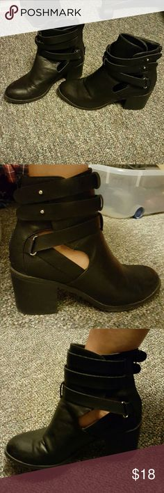 Women's Black Booties Size 9.  2 1/2 in. Chunk heel. Has cutouts on both sides. Only worn a few times, very comfortable. Very miniscule signs of wear. Charlotte Russe Shoes Ankle Boots & Booties