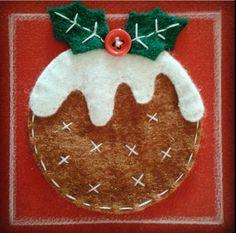 Felt Christmas Pudding Christmas Card