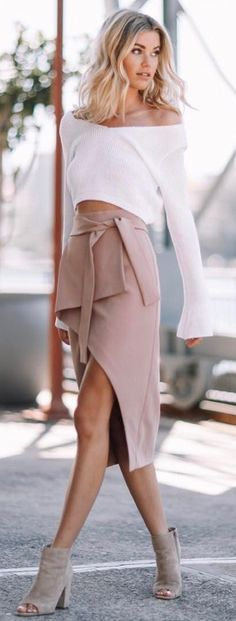 #summer #outfits White One Shoulder Knit + Blush Wrap Skirt + Grey Open Toe Booties ❤