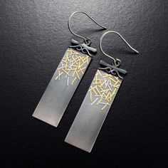Gold and silver strips Keum Boo earrings by KAZNESQ on Etsy