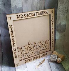 Boda pequeña gota caja estilo boda invitado libro alternativa, gota caja libro de visitas personalizado corazón Dropbox marco