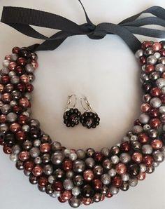 """Colier """"DECLARATIE YanniA"""", lucrat integral manual din perle de sticla in nuante de alb-bej-maron-corai.Sistem de inchidere cu panglica striata. Jewelry, Jewlery, Jewerly, Schmuck, Jewels, Jewelery, Fine Jewelry, Jewel, Jewelry Accessories"""