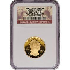 2007-W First Spouse Abigail Adams Half Ounce Gold Coin PF70 UC NGC