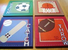 12x12 4 Piece Sports Set for Boys room or by CuteAsAButtonArt, $99.00