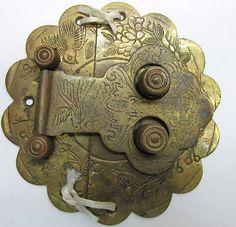 Antique Door Cabinet Drawer Lock Latch Brass Oriental Vintage Hardware  Shutter