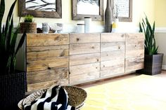Ikea ideas and Ikea hacks are my FAVE! Love this Ikea hack. Cabinets turned sideboard. So chic.