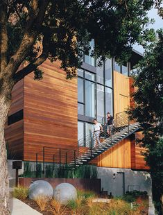 Modern renovation in San Francisco with second floor entrance and facade