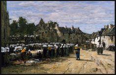 """Eugene Boudin - """"Market at  Landerneau"""""""
