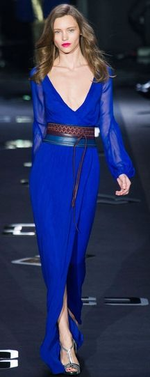 Diane von Furstenberg Fall 2013. Great color, love the sheer sleeves.