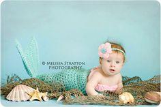 Newborn  0-3 3-6 months mermaid cocoon and bandeau / bikini top Newborn photo props photography